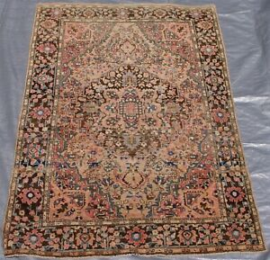3 3 X 5 Magnificent Floral Antique 1880s Hand Knotted Wool Oriental Rug