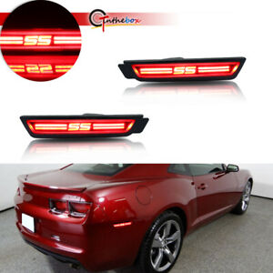 2x Black Lens Ss Style Red Led Lamps For 2010 15 Chevy Camaro Side Marker Lights
