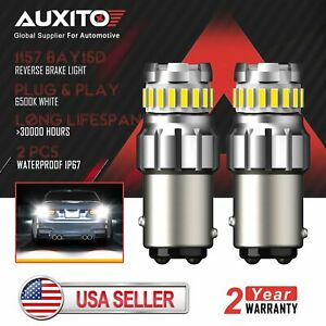 Auxito 1157 Led Turn Signal Brake Reverse Parking Light Bulb 2400lm 6500k White