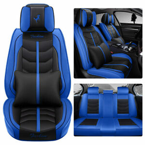 Blue Deluxe Car Seat Covers 5 sit Comfort Cushion Universal Pu Leather W pillows