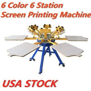 Usa 6 Color 6 Station T shirt Silk Screen Printing Machine Press Printer