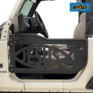 Eag Tubular Jesus Fish Door With Side Mirror Fit For 07 18 Jeep Jk Wrangler 2dr