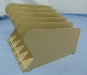 Vintage Retro Cole File Holder Sorter Paper Office Wing Golden Tan Steel Desktop
