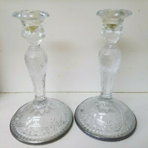 Vintage Weidlich Glass Sterling Silver Candle Holders Candlesticks Set