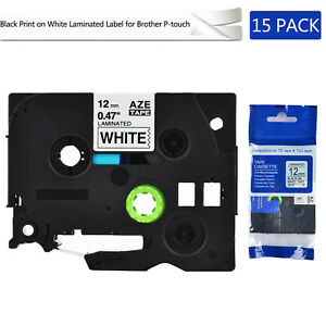 15pk Compatible With Brother Tz231 Tze231 Black Print On White Tape 0 47 x26 2ft