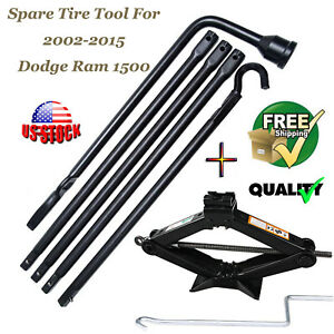 Car Scissor Lifting Jack Spare Tire Tool Lug Wrench Iron Kit For Dodge Ram 1500