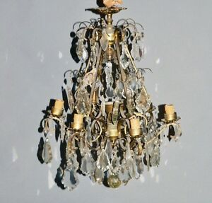 Antique French Bronze Brass Cage Crystal Prizms Chandelier
