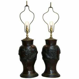 Pair Of Vintage Chinese Export Bronze Table Lamps With Dragons Floral Decor