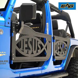 Eag Jesus Fish Tubular Door With Side Mirror Fit For 07 18 Jeep Wrangler Jk 4dr