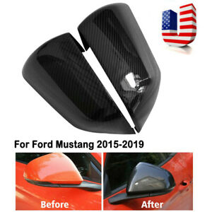 Carbon Fiber Style Side Rear View Mirror Cover Trim For Ford Mustang 2015 2019