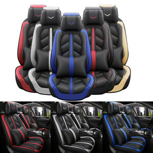 Leather Full Set Auto Car Seat Cover Front Rear Back Cushion Cover Universal Fit