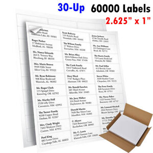 60 000 Address Labels 1 X 2 5 8 Mailing Adhesive Labels 1 X 2 625 2000 Sheets