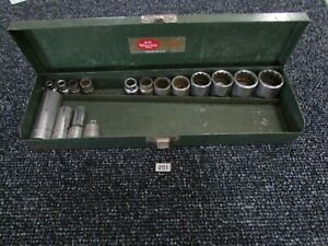 Vintage Sk S K Wayne 3 8 Socket Set Ratchet Breaker Bar Extension Deep Tool