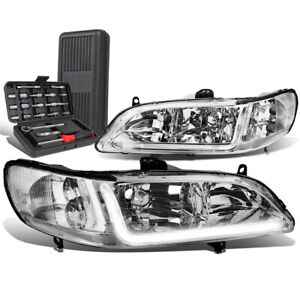 For 1998 2002 Honda Accord Led Drl Tube Chrome Clear Side Headlights tool Box