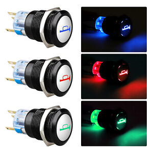 19mm 12v Led Horn Symbol On off Car Push Button Switch Latch Metal Waterproof