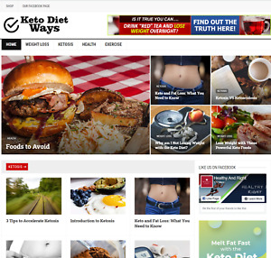 Keto Diet Wordpress Blog Website Monetized With Clickbank Products
