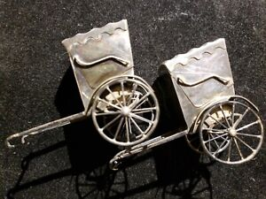 Japan 950 Sterling Silver Rickshaw Salt Pepper Shaker Set