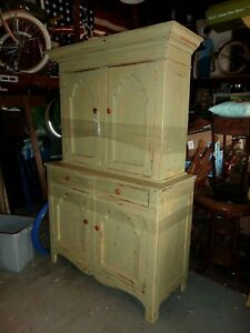 Antique Painted Pine Hutch Cupboard Circa 1850