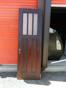 Interior Antique Wood Door 3 Panes Privacy Glass 28 X 82 Can Ship