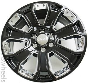 New Gmc Sierra Yukon Denali Gloss Black Chrome Factory Oem 22 Wheels Rims Ck647