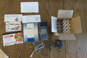 Verifone Nurit 8020 Terminal Credit Debit Card Reader 24 Tape Roll Cords Battery