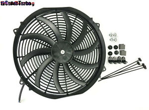 High Power 3200cfm 2100rpm 16 Slim Electric Radiator Fan Pusher Puller 120w