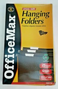 Office Max Brand Hanging Folders 1 5 Cut Tabs Legal Size Green 25 pknew In B0x