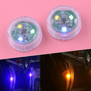 2x Led Car Door Safety Warning Light Wireless Anti Collision Vehicle Alarm Lamp