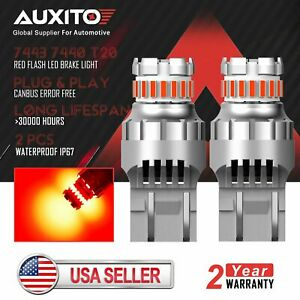 Auxito 7443 7440 Canbus Error Free Red Strobe Flashing Led Brake Stop Light Bulb