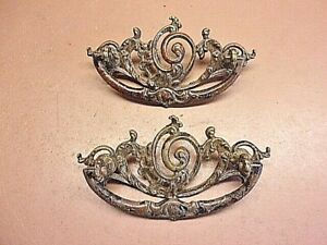 Antique Pair Of Victorian Very Ornate Bail Style Brass Drawer Pulls 2 X 4 1 4