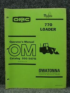 Oem Factory Omc Mustang 770 Front End Wheel Loader Operator s Manual 000 54715