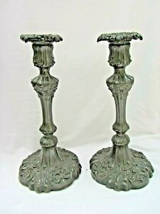 Large Pair Antique 19th C Georgian Style Pewter Candlesticks 18th C Style