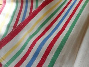 Vintage French Stripe Linen Metis Fabric Towel Yellow Green Blue Red Pair 2