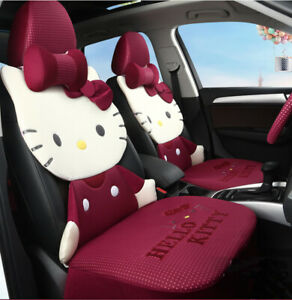 Hello Kitty Cartoon Car Seat Covers Set Universal Car Interior Red Color Type2