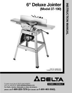 Delta 37 190 6 Deluxe Jointer Instruction Manual