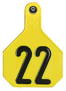 All American Livestock Tag Numbered Large Yellow 25 pk