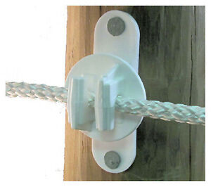 Electric Fence Insulator Wood Or Vinyl Post Nail on White 25 pc
