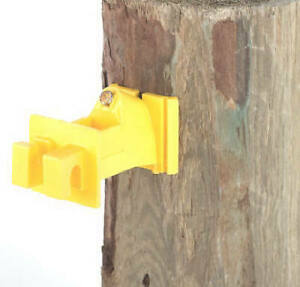 Electric Fence Insulator Wood Post Snug fit Yellow With Nails 25 pk