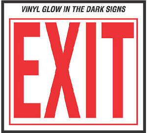 10 X 12 inch Vinyl Glow In The Dark Exit Sign Pack Of 10
