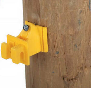 Electric Fence Insulator Wood Post Wire Snug fit With Nails Yellow 25 pk