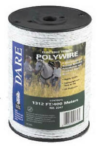 Electric Fence Wire White Poly 3 wire Stainless Steel 820 ft Spool