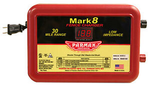 Mark 8 Electric Fence Charger 30 mile Low Impedance Plug in 110 120 volt