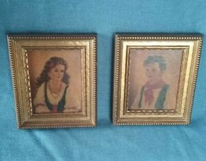 Vtg Pair Of Wooden Gold Filigree Picture Frames W Prints Od 6 1 4 X 5 1 4