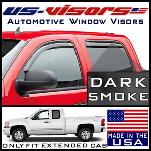 Us visors 2007 13 Chevy Silverado Extended Cab Window Vent Visors In channel 4pc