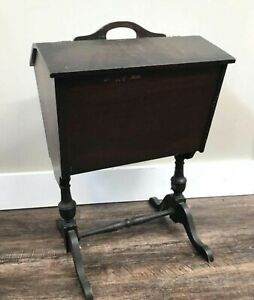 1920s Mahogany Flip Flop Top Bin Sewing Knitting Chest On Stand Storage Box