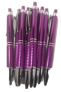 10 Count Purple Metal Retractable Click Pen Knurled Grip Ball Point Black Ink