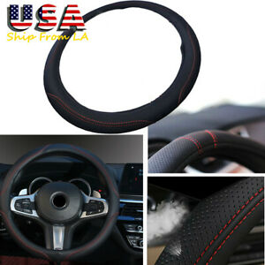 Universal Sport Style Car Steering Wheel Cover Black Red Stitching Pu Leather