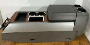 07 14 Ford Expedition Center Console Armrest Gear Shift Gray Leather Wood Grain