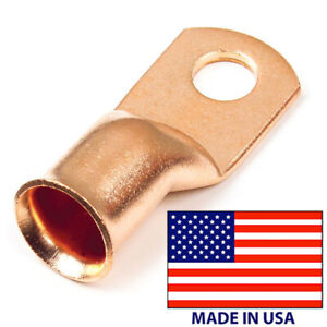 10 Copper Lug 2 Awg Gauge 3 8 Ring Wire Terminal Battery Cable Connector Usa