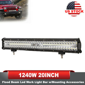 20 Inch Triple Row Led Work Light Bar Spot Flood Beam Offroad Driving Light